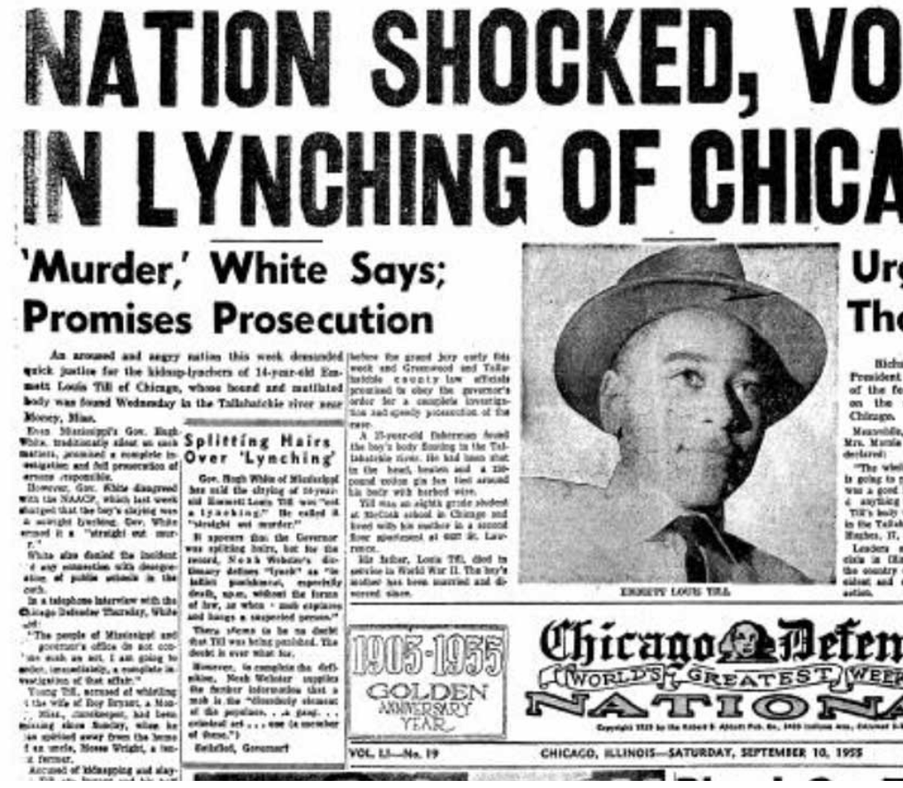 Newspaper coverage of Emmitt Till's death