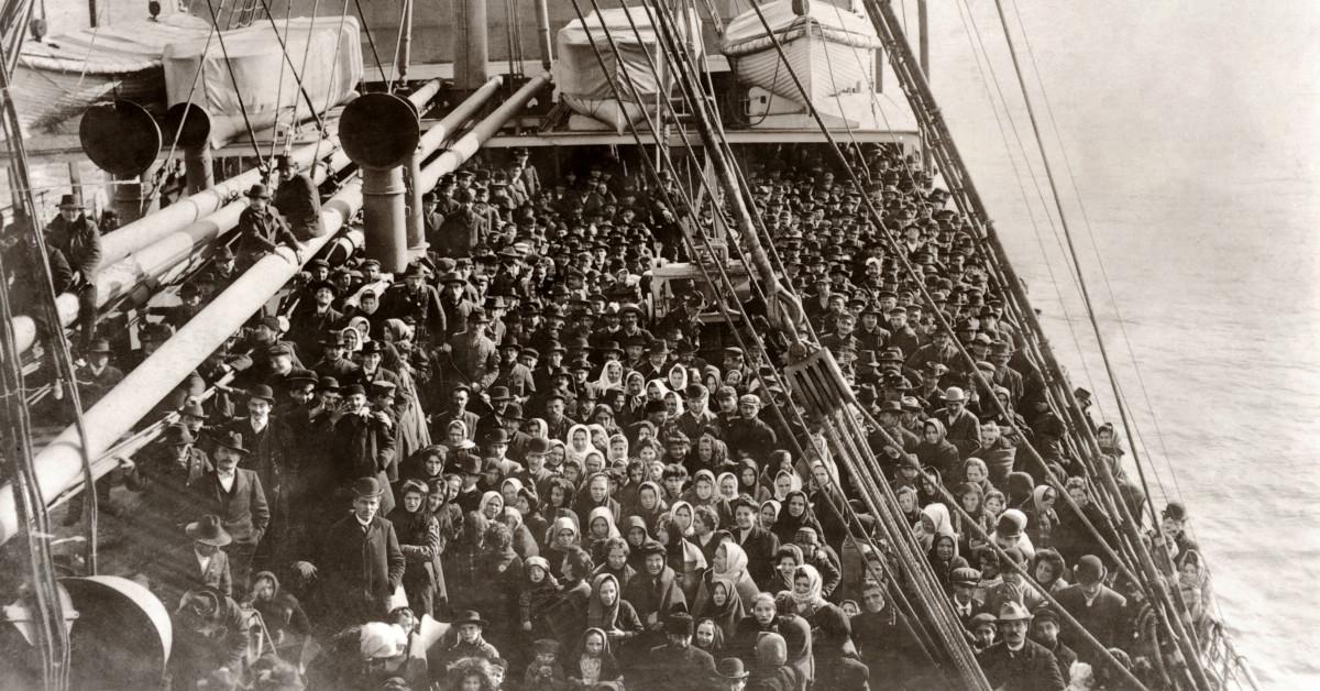 Immigrants on boat at Ellis Island