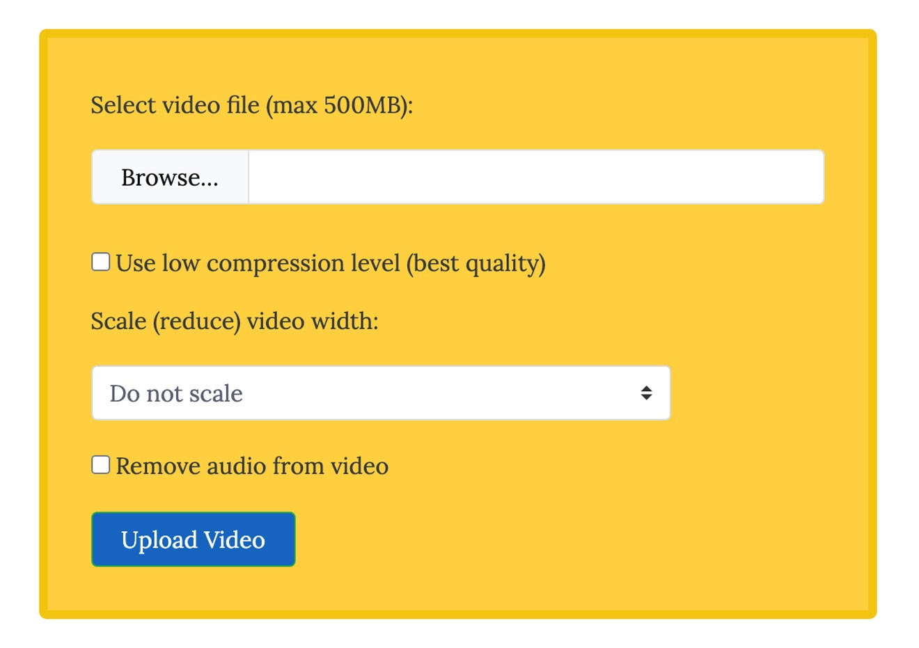 VideoSmaller Video Compression settings