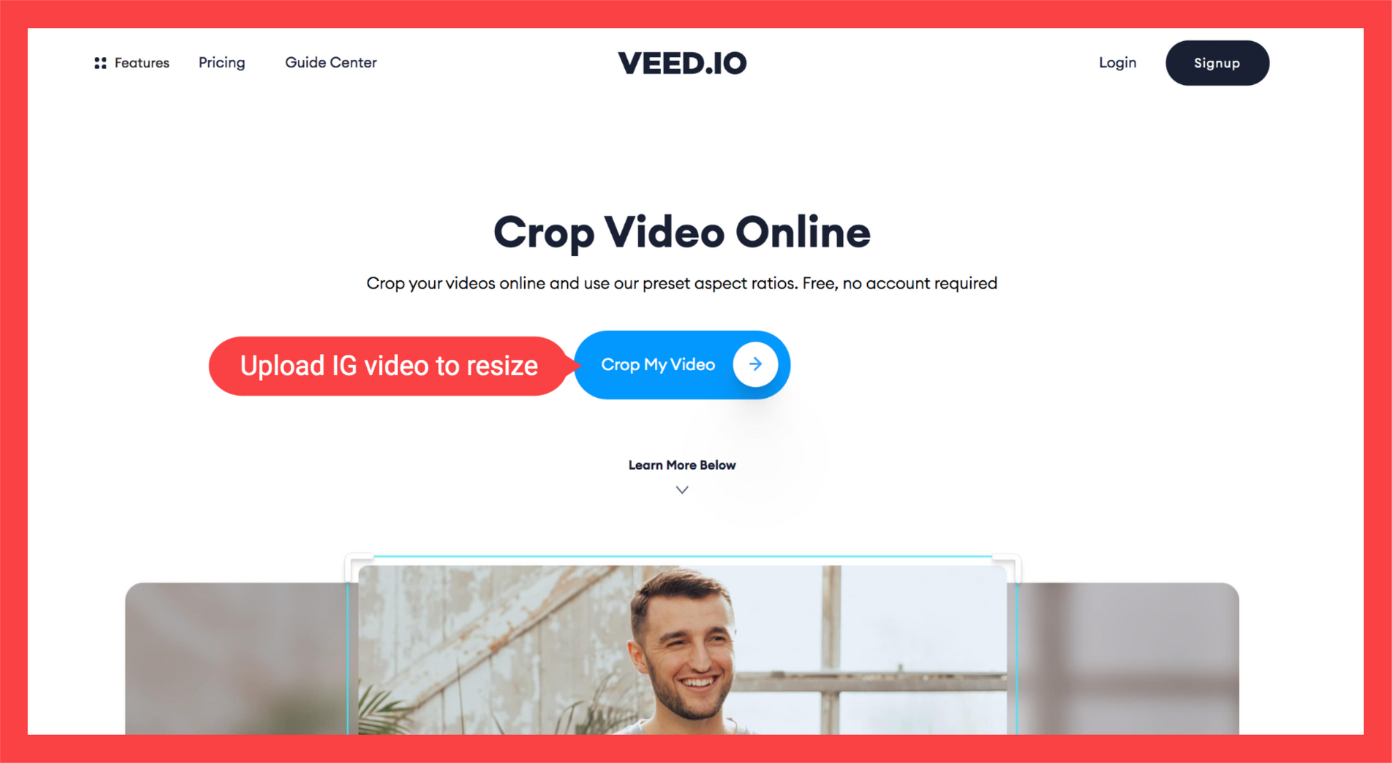 landing page for video cropping tool. White background with blue button and image of man inside a video frame.