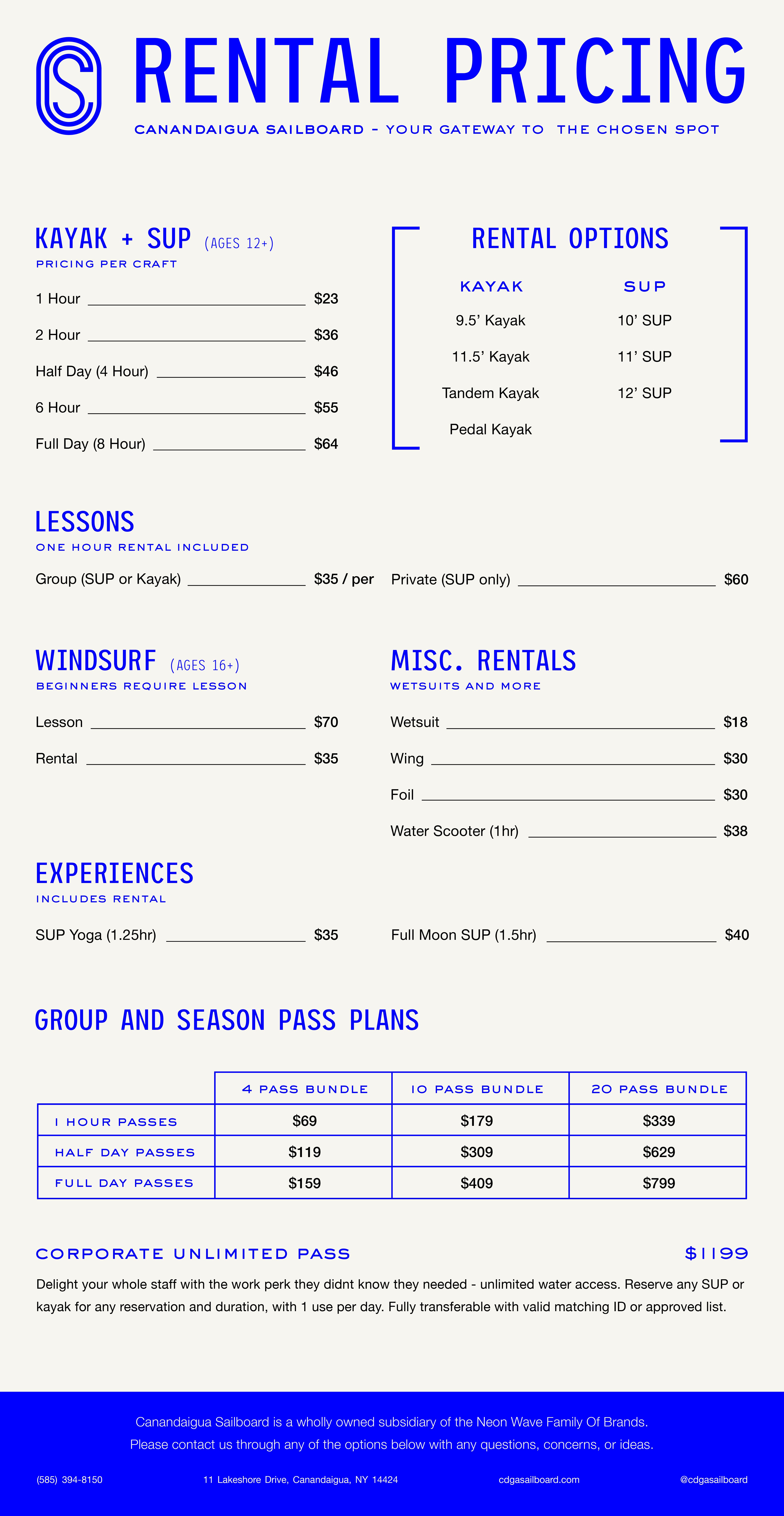 Canandaigua Sailboard Pricing