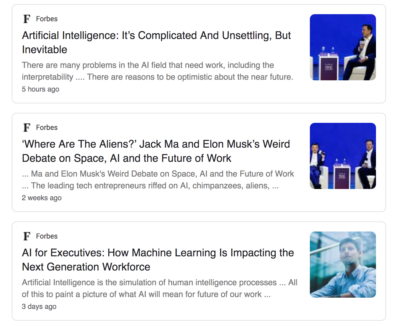 A list of fear-based artificial intelligence articles.