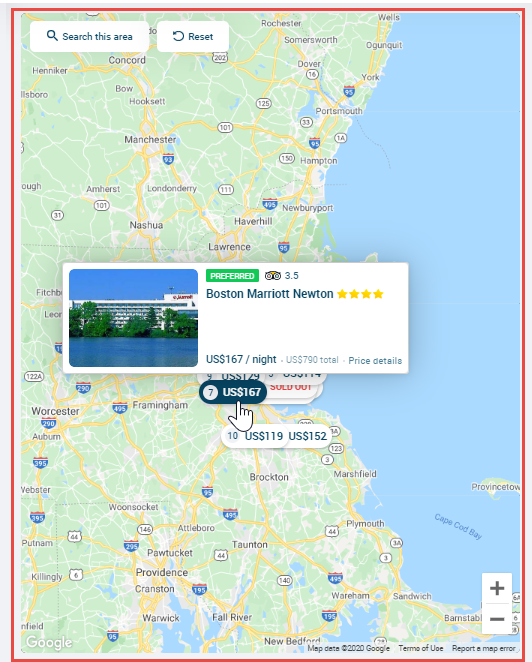 Screen image of a hotel card displayed on a map that includes hotel name, user ratings, price and booking policy status.