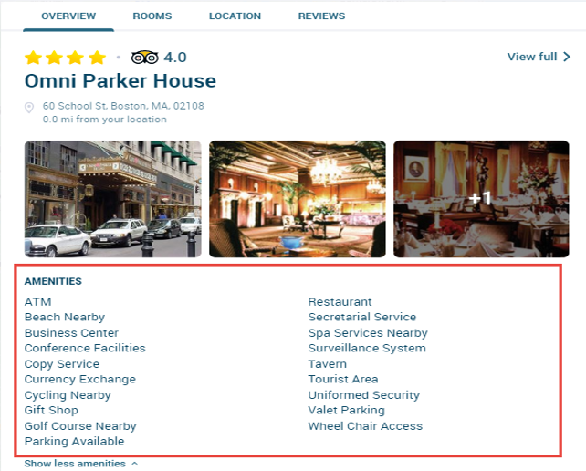 Screen capture of a hotel listing with extended list of amenities.