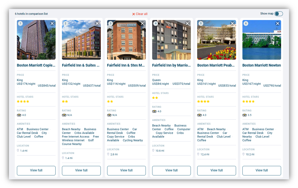 Screen capture of hotels listed side by side for comparison.o