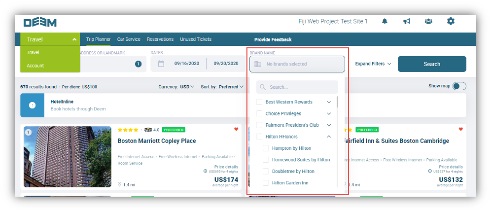 Screen capture with outlined list of hotel rewards programs listed by hotel brand in the booking flow.