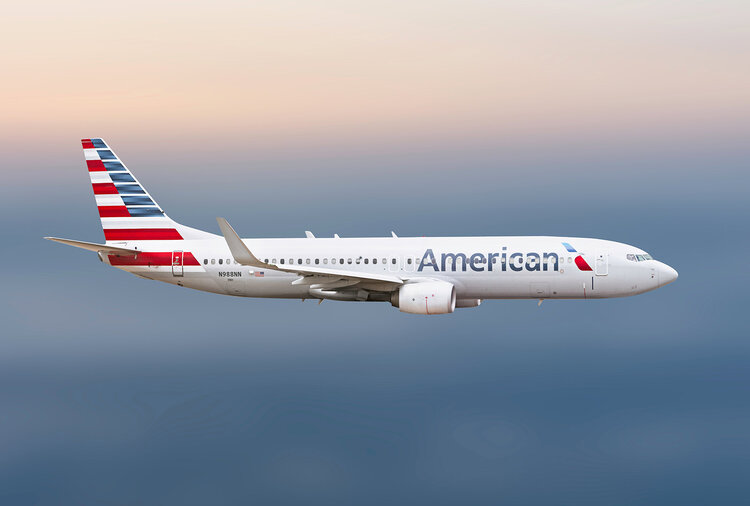American Airlines plane in flight.