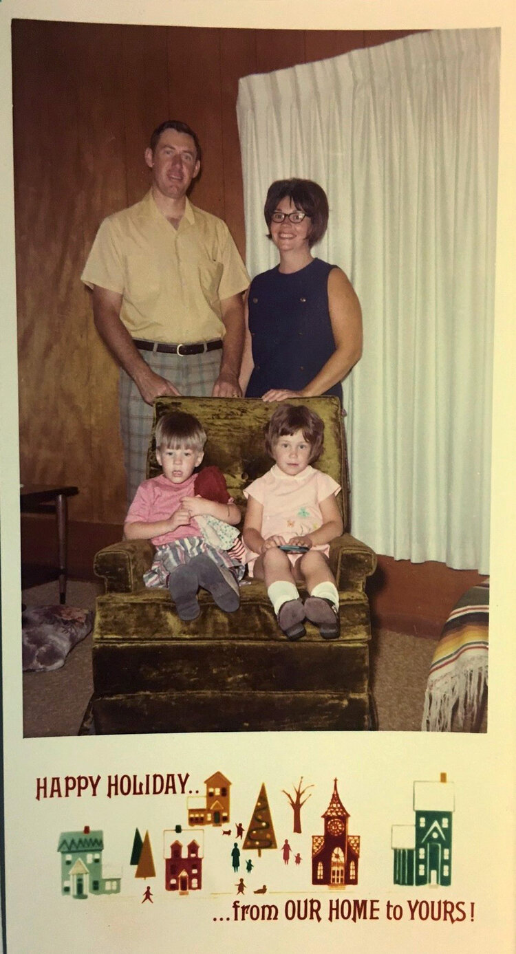 A yellowed Nygaard family Christmas card from the 1970s.