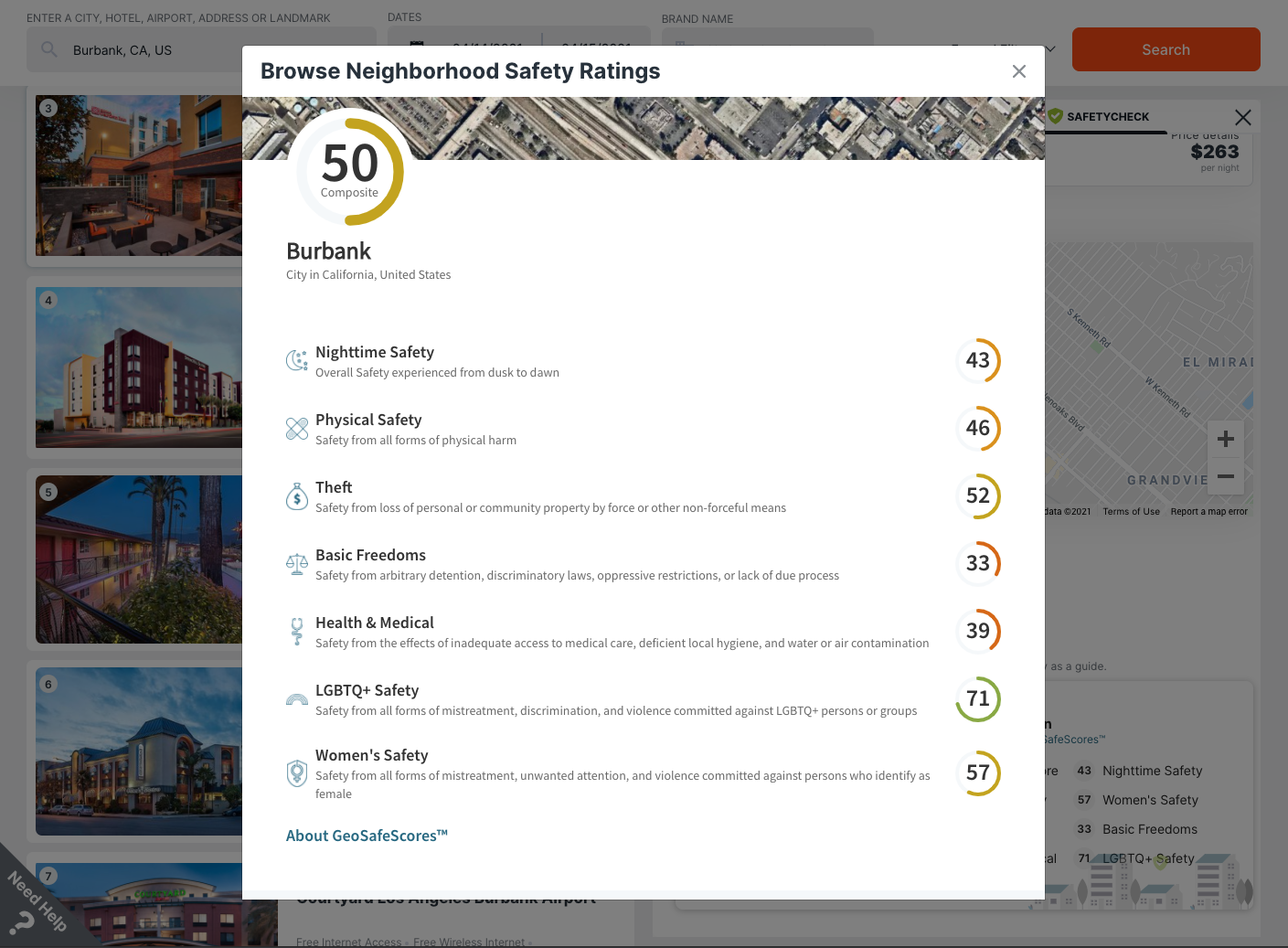 Travel SafetyCheck detail showing neighborhood scores for LGBTQ+ and women's safety, nighttime and physical safety, theft, basic freedoms and health & medical scores.