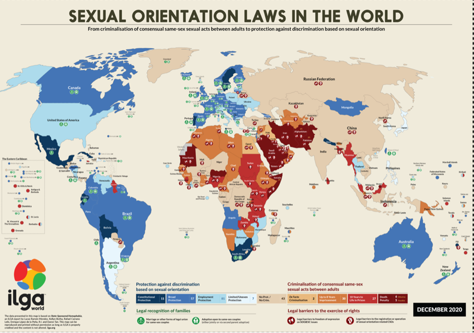 Color-coded map of sexual orientation laws in the world, from criminalization of consensual same-sex acts between adults to protection against discrimination based on sexual orientation.