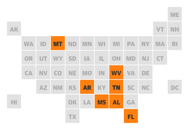 Graphical image of U.S. map with states highlighted that have proposed and passed discriminatory legislation against trans people, including Montana, West Virginia, Arkansas, Tennessee, Mississippi, Alabama and Florida.