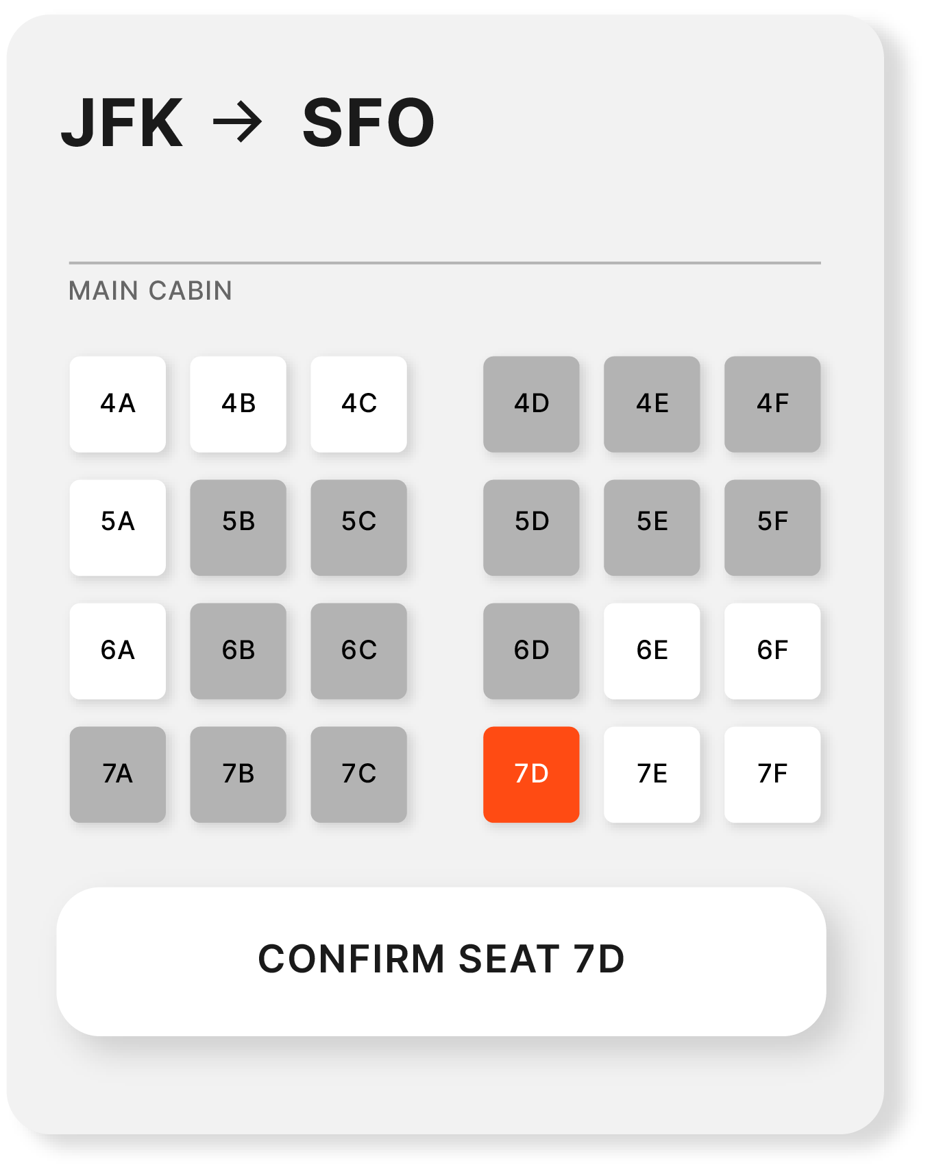 JFK to SFO seat example