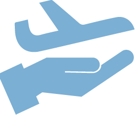 hand holding plane icon