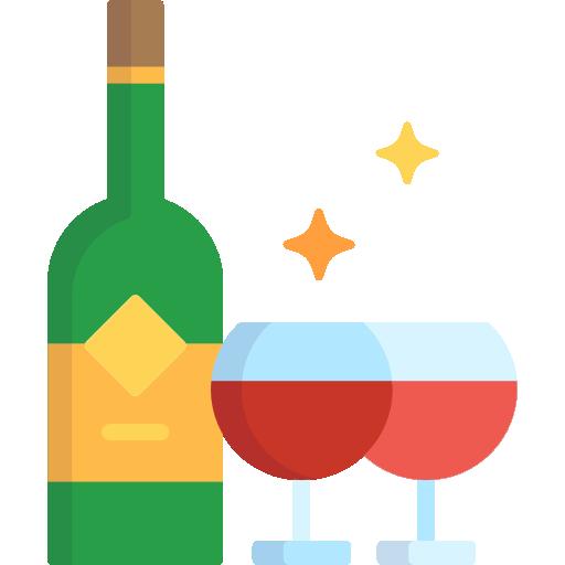 bouteille de vin et verres vin rouges