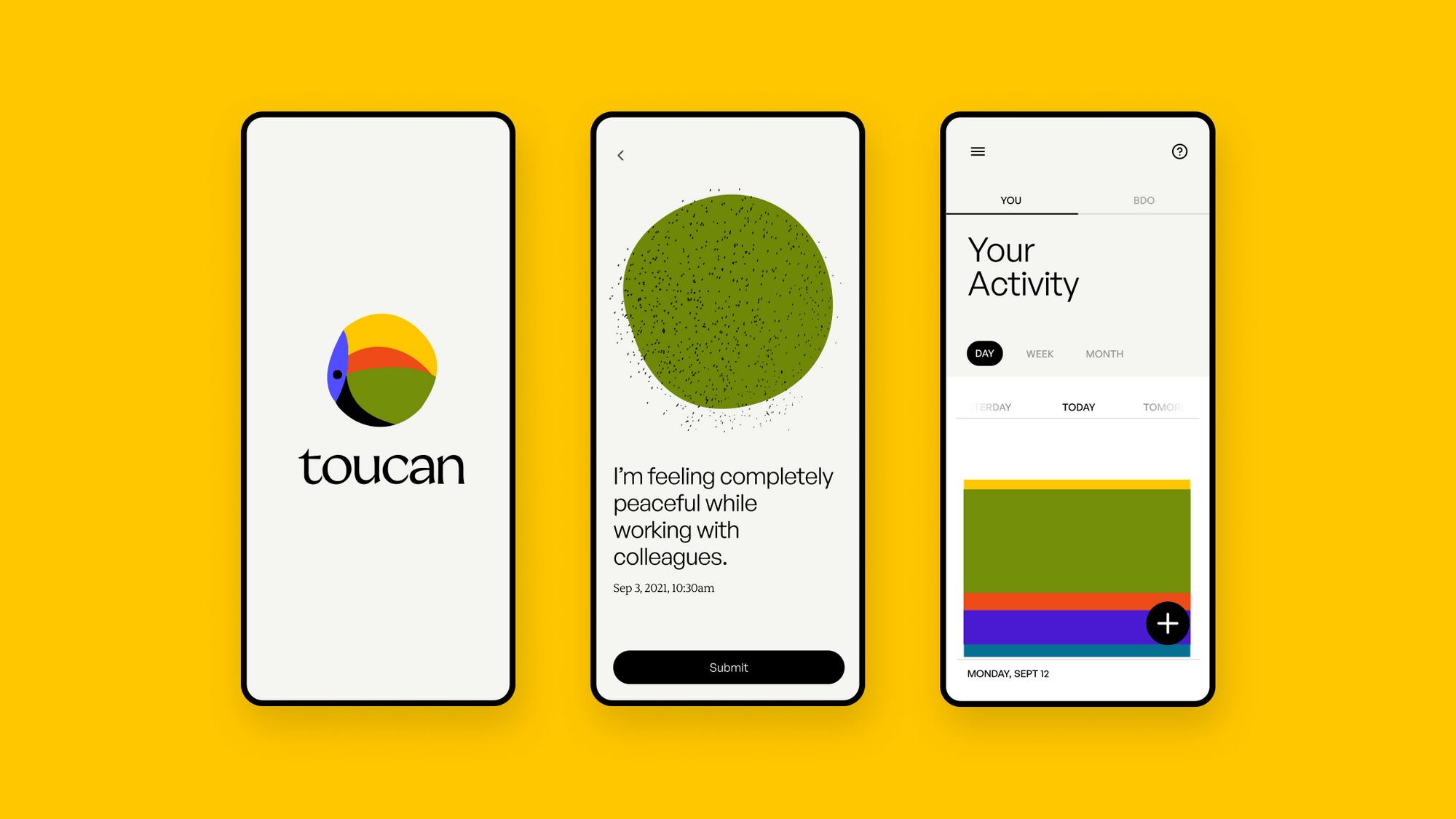 Screenshots of the Toucan app
