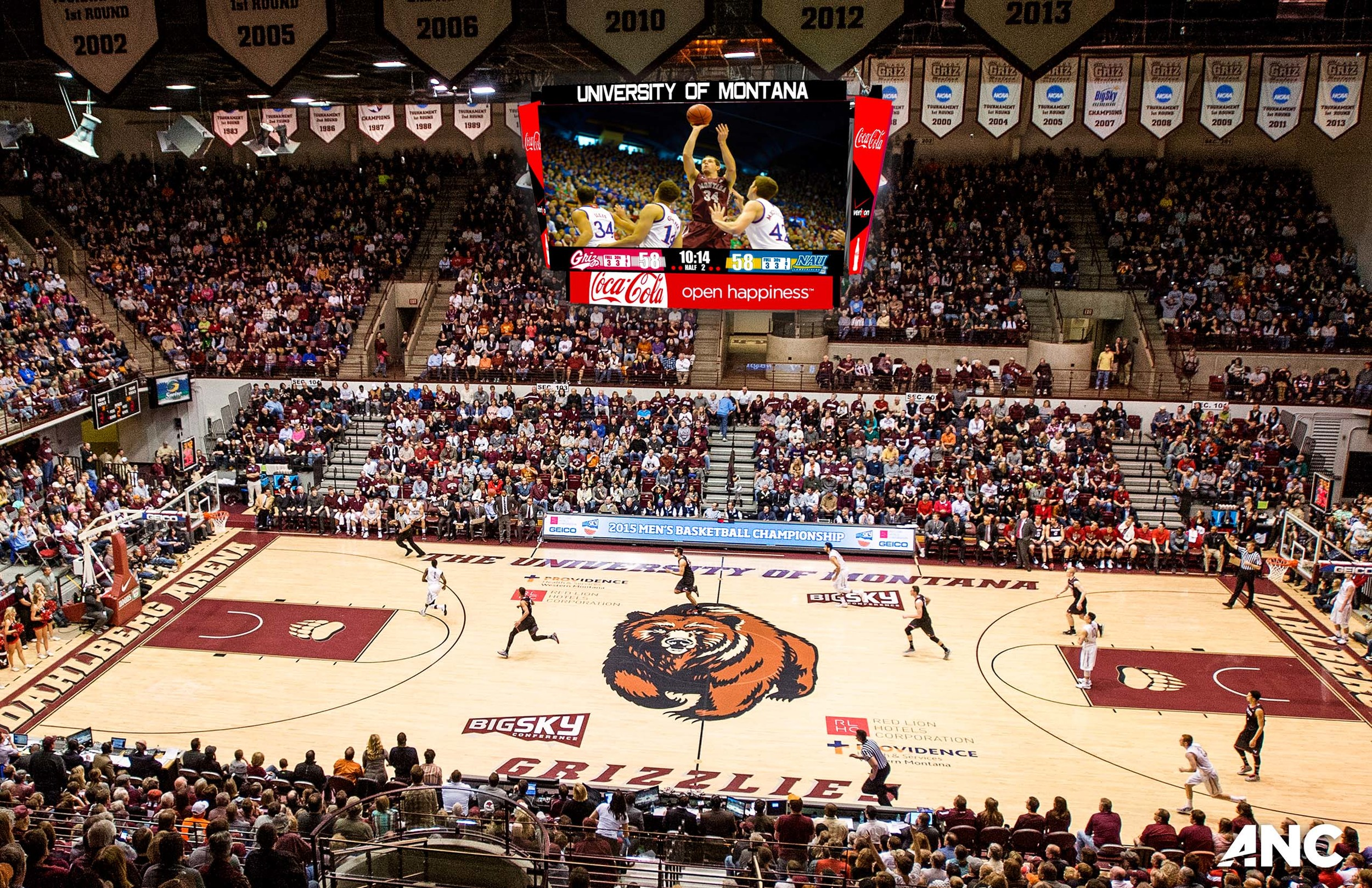 University of Montana and ANC partner on new center-hung display for Dahlberg Arena