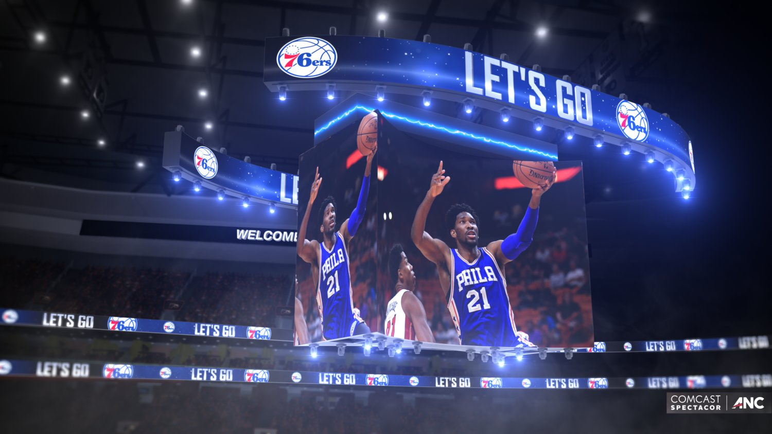 Wells Fargo Center to introduce the World's First 4K US Patented Multi-Directional Kinetic Center-Hung Scoreboard Display