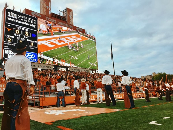 University of Texas, Darrell K. Royal – Texas Memorial Stadium, 55.86' high by 134.38' wide south end zone video display, the fourth largest in the NCAA.