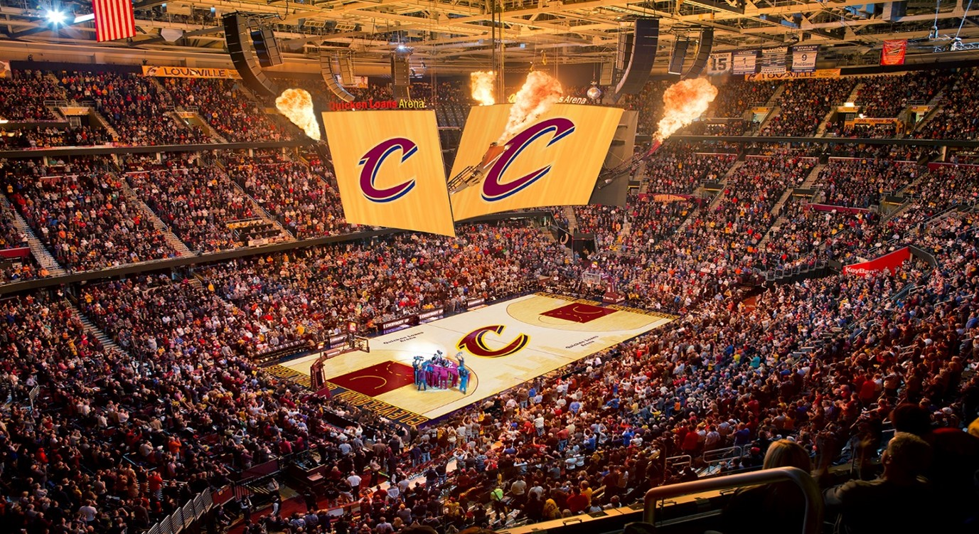 Rocket Mortgage Fieldhouse, ANC designed for the Cleveland Cavaliers what was at the time the largest center-hung scoreboard in the NBA.