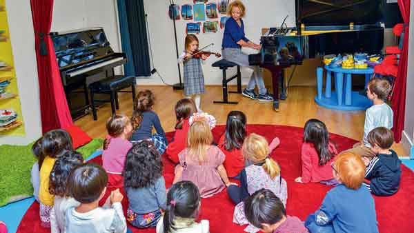 Joan Koenig playing piano in a classroom with children sat down on the floor