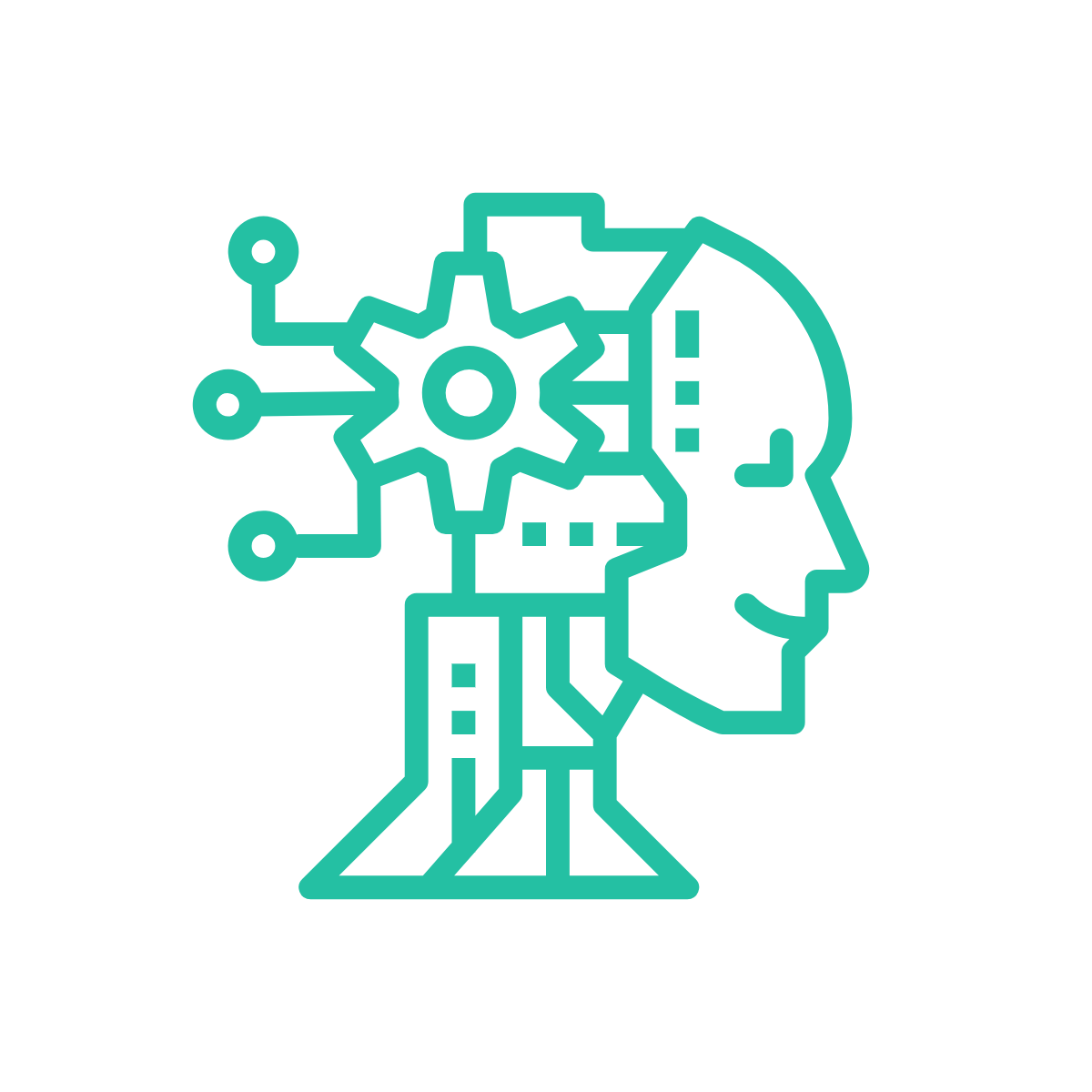 Icon representing AI with head with gears coming out