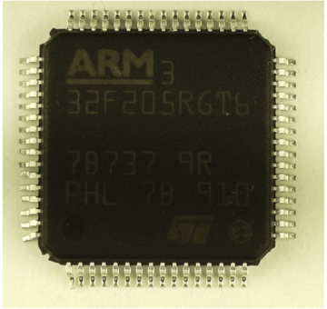Image of ARM chip with faded blacktopped counterfeit method