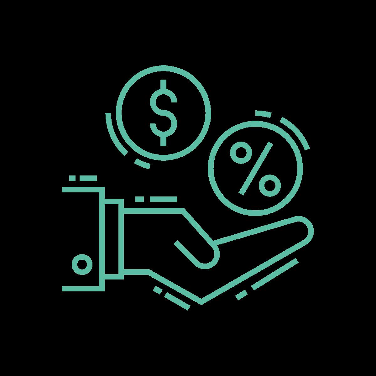 Icon of hand receiving money