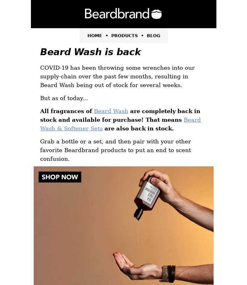BeardBrand's examples of emails