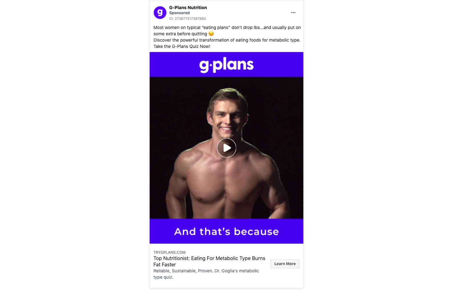 G-plan's social media facebook ads