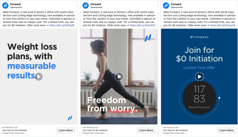 Forward Health social media facebook ads