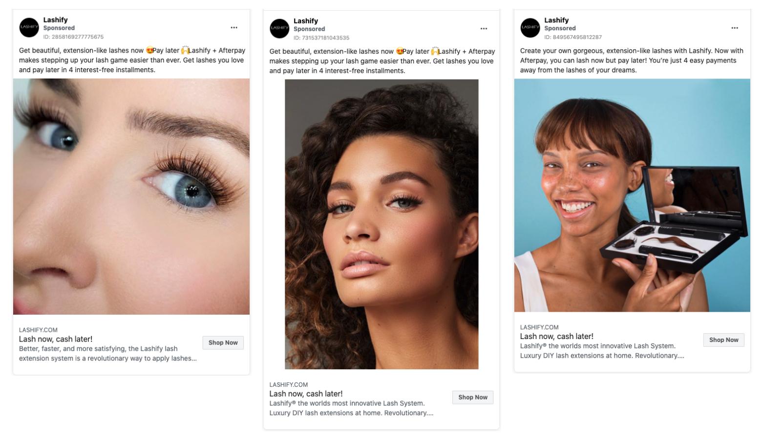 Lashify's social media facebook ads