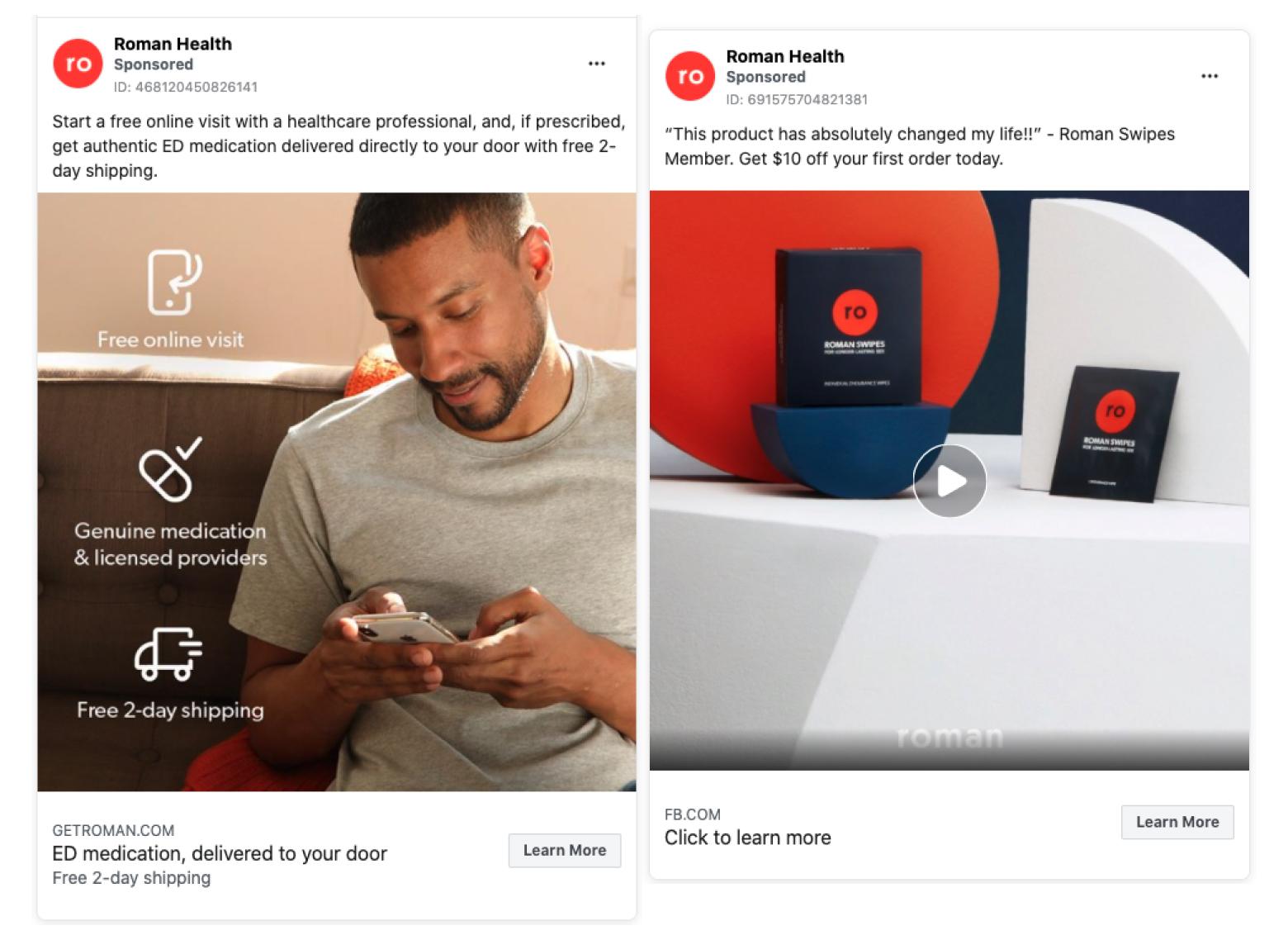 Roman's social media facebook ads