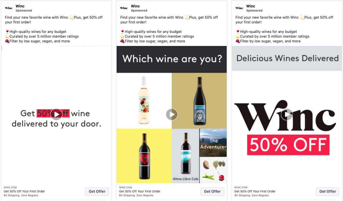 Winc's social media facebook ads