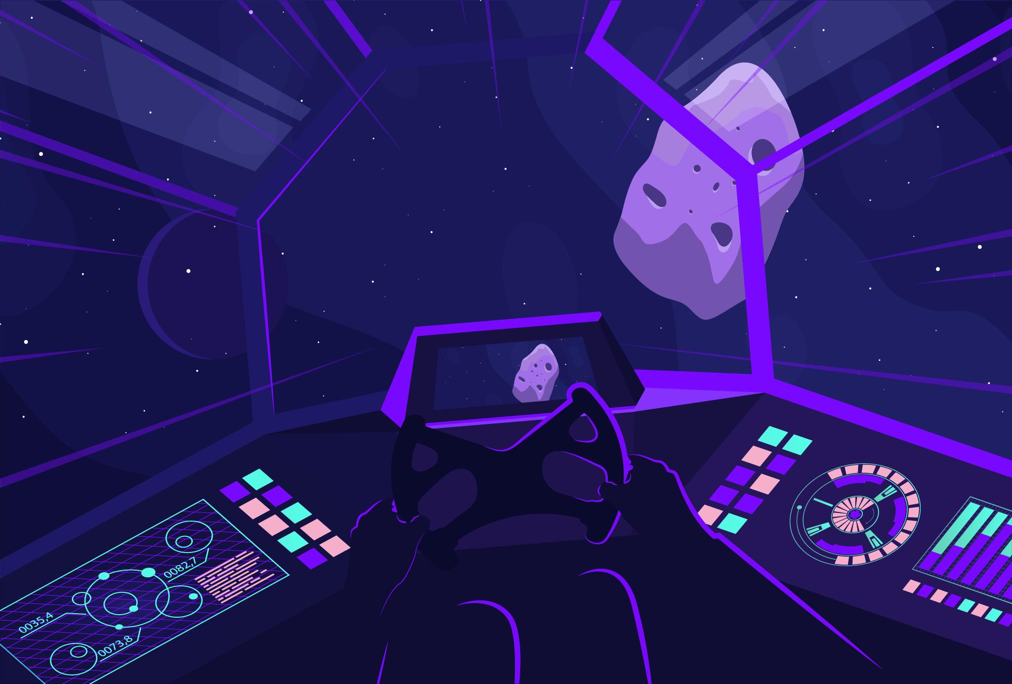 Astronauta esquivando asteroides de la cadena blockchain