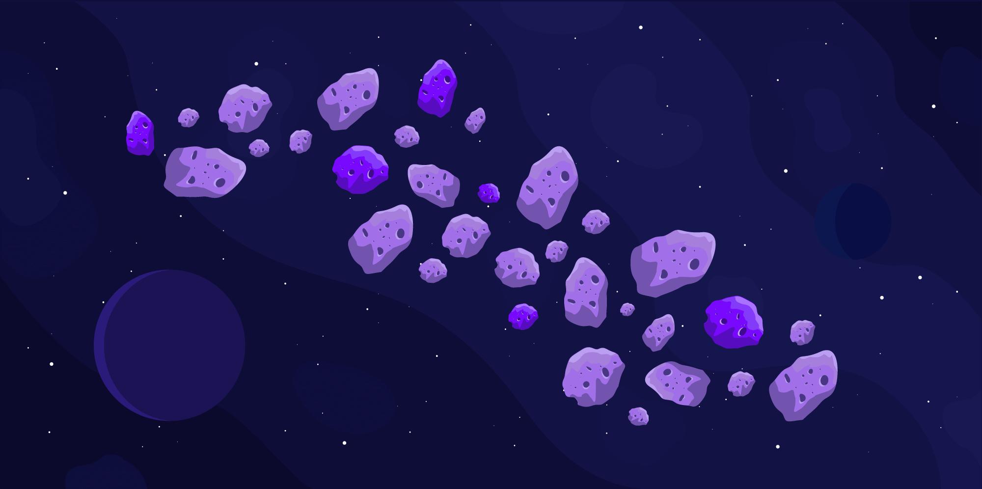 Blockchain representada en cadenas de asteroides