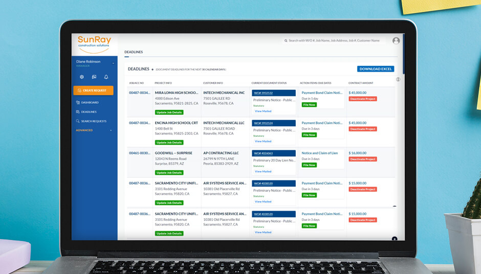 Check your deadlines easily in SunRay Dashboard