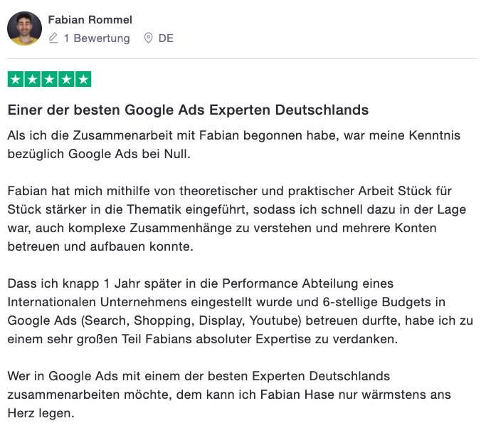 Testimonial Google Ads Academy Fabian