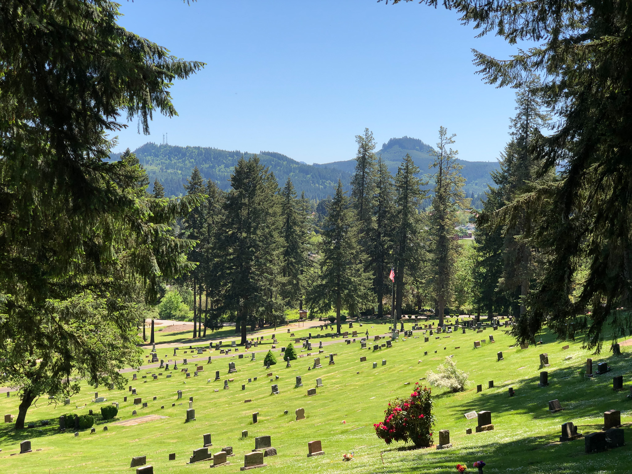 view from a cottage grove cemetery