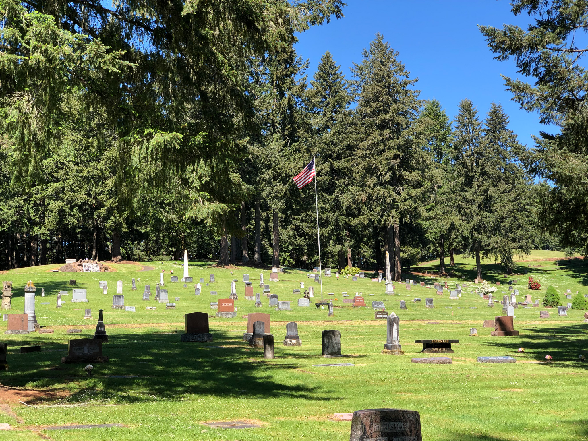 a flag at fir grove cemetery