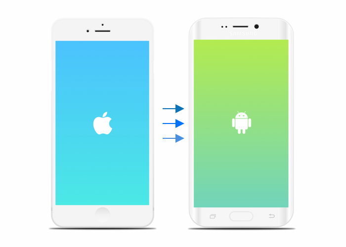 iOS and Android logos on mobile devices