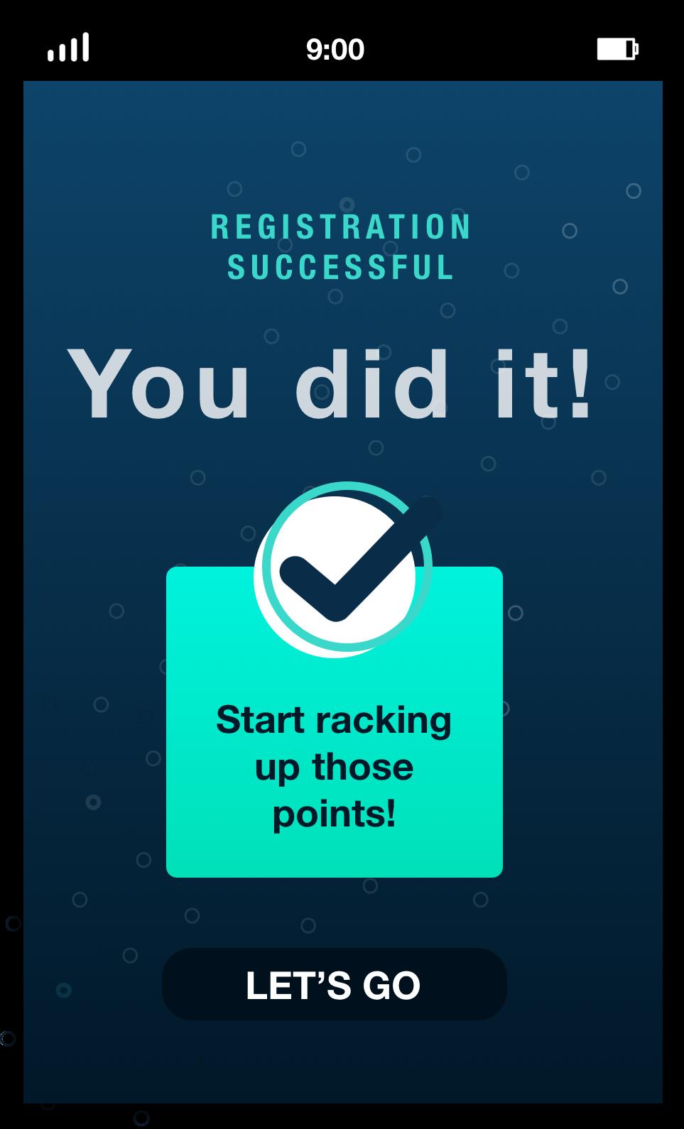 mobile user success message