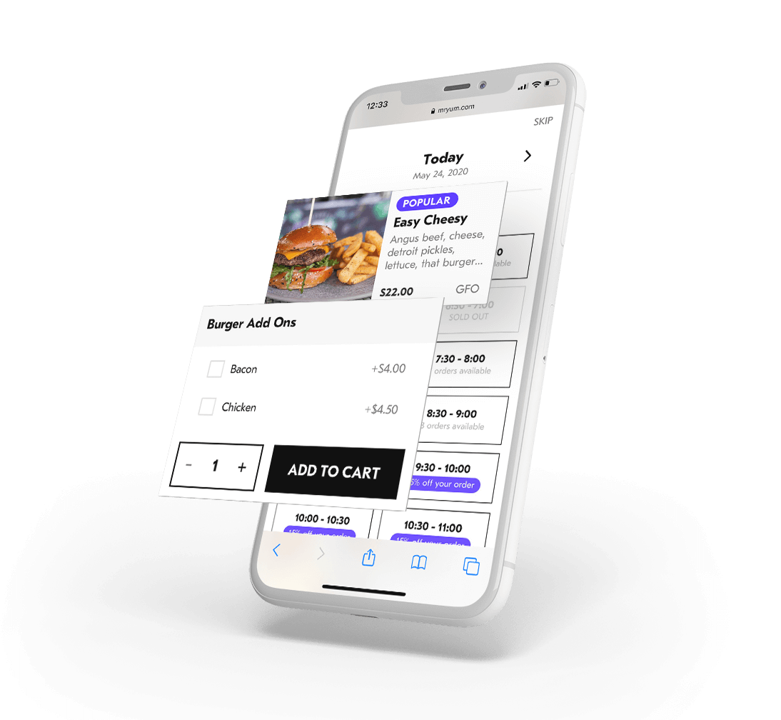 Mobile phone showing menu for contactless ordering