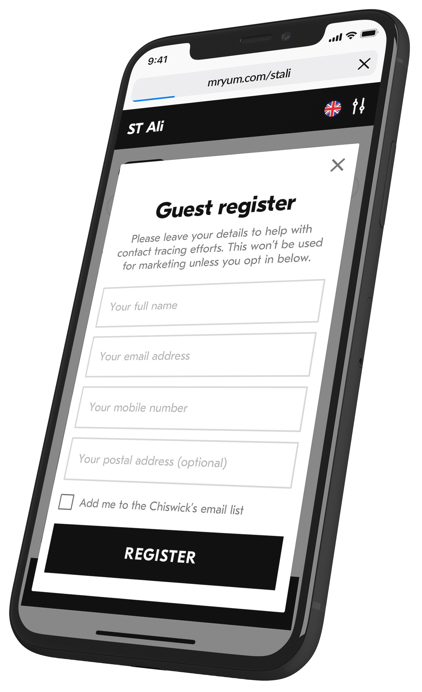 Mobile phone showing guest register form for contact tracing