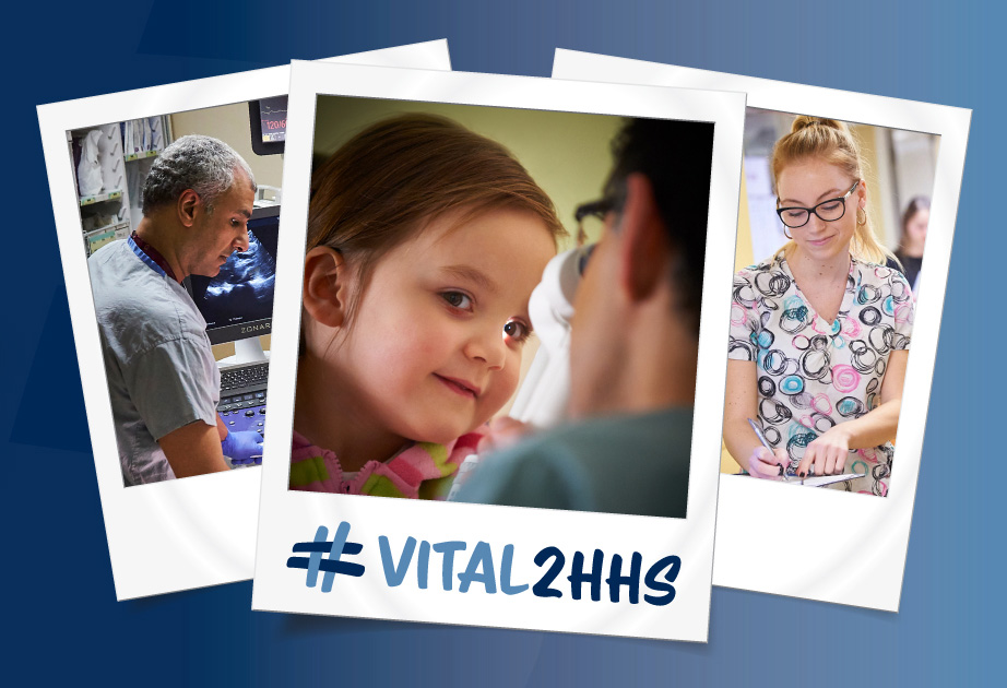 Photos of patients with caregivers and the #VITAL2HHS logo