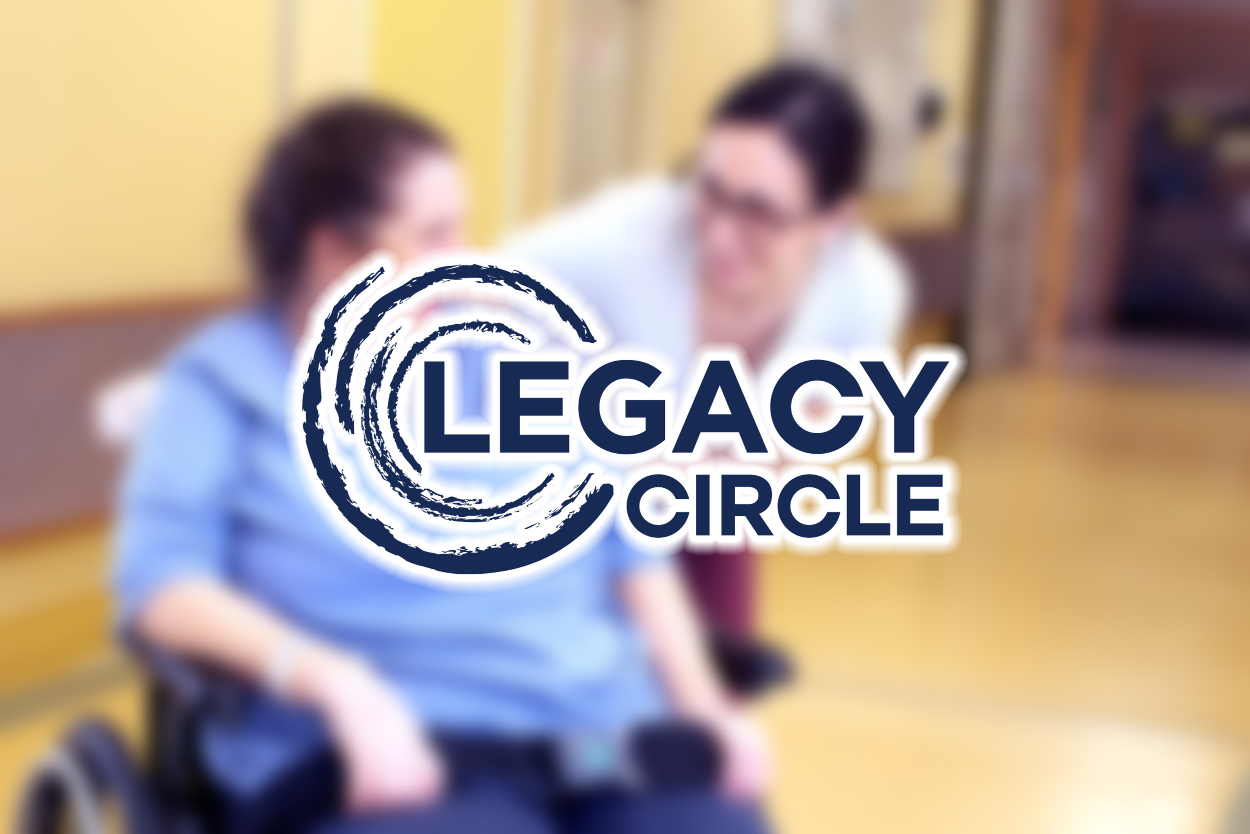 The Legacy Circle logo on a blurred image background