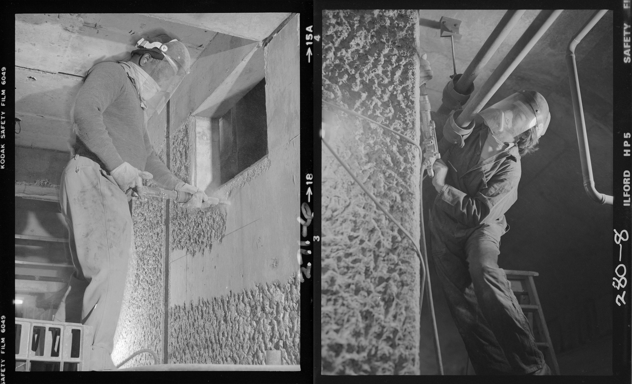 Archival images of construction workers bush-hammering the concrete walls by hand at the Barbican, November 1979. Photographs: Peter Bloomfield.