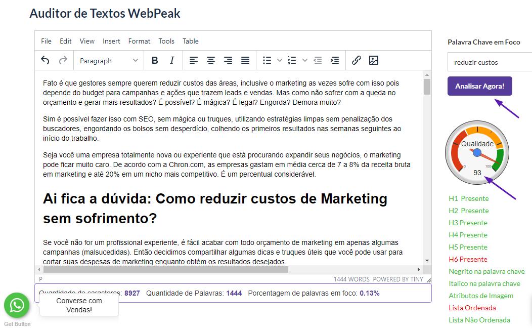 auditor de textos grátis SEO webpeak