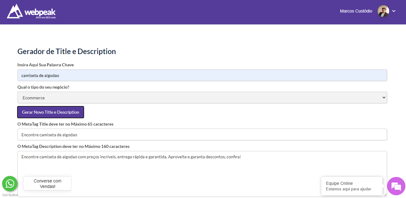 gerador de title e description grátis - webpeak