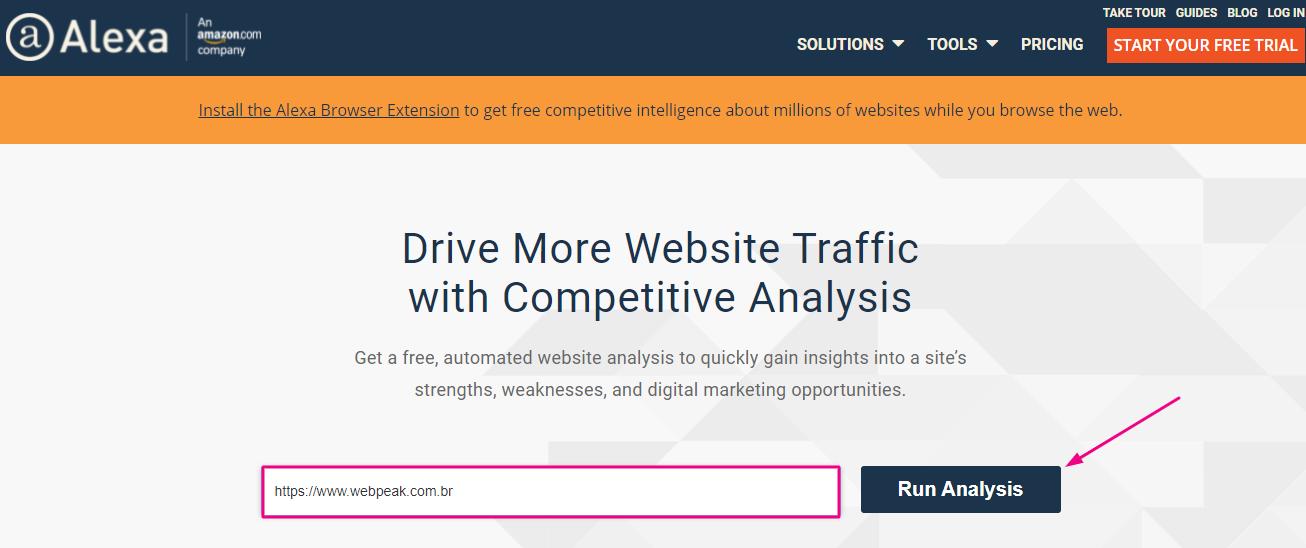 Como medir a popularidade do site com Alexa Rank