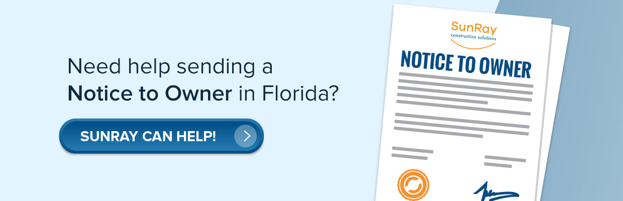 Send Notice to Owner (NTO) in Florida